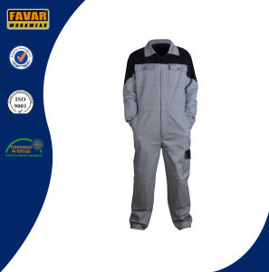 Two Tone 100%Cotton Twill Working Coverall in Grey/Black pictures & photos
