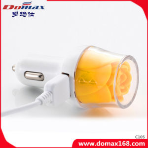 Mobile Phone Inovation Rose Design 2 Dual USB Car Charger pictures & photos