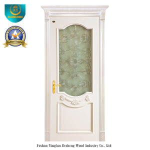 Simplified European Style Solid Wood Door for Interior with Glass (DS-127) pictures & photos