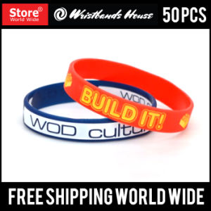 Deboss Ink Fill Custom Silicone Wristbands pictures & photos