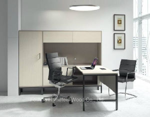 Modern Wooden Manager Desk with Hutch, Staff Desk with File Cabinet, Desk with Cabinet Bookcase (HF-ZTHT2122) pictures & photos