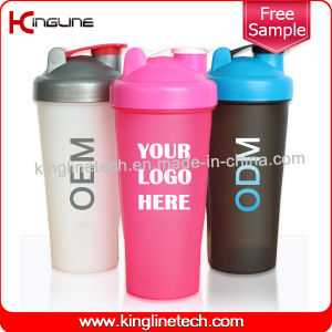600ml Plastic Protein Shaker Bottle with Blender mixer Ball Inside (KL-7010) pictures & photos