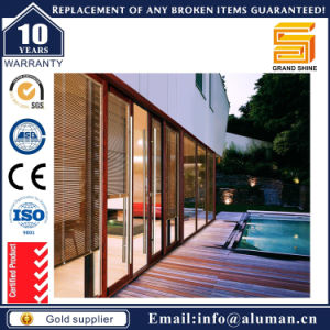 Wood Color Aluminium Double Glazed Slide Door with Blinds pictures & photos