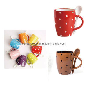 Dots Ceramic Colorful Coffee Cup Set with Spoon (CPBZ-4027) pictures & photos