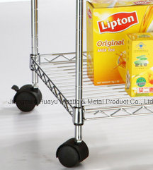 Household 4 Tier Chrome Roller Wire Shelving Wire Cart pictures & photos
