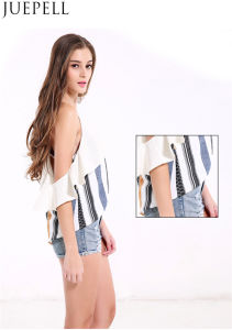Women Sexy Deep V Flouncing Sleeve Striped Straps Strapless Tops Wild Women Small Shirt Blouse pictures & photos