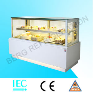 Vertical Sytle White Marble Cake Display Refrigerator with Ce pictures & photos
