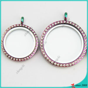 Hot Selling Round Rainbow Glass Lockets Jewelry