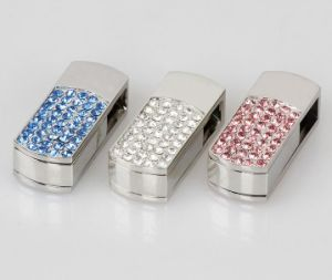 Customized Logo Crystal Pendrive Jewelry USB Flash Drive for Wedding pictures & photos