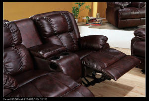 Living Room Classic Recliner Sofa with Fold Down Tray Table pictures & photos