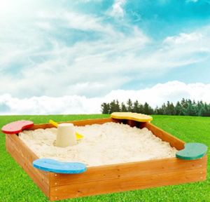 Kids′ Square Wooden Sandbox with Colorful Seats