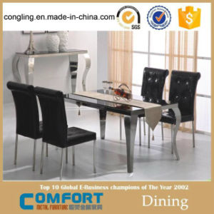 Pics of Modern Stainless Steel Dining Table Set with Chairs