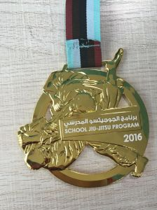 Cut out Logo Enamel Running Medal with Transfer Printed Lanyard pictures & photos