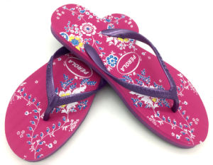 Beautiful PE Flip Flops for Women with Beautiful Printing pictures & photos