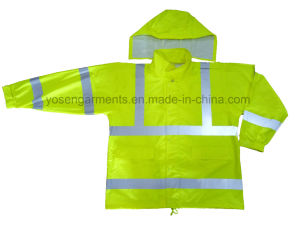 100% PU Waterproof Rainsuit with High Visibility Reflective Tapes Safety Protective Apparel pictures & photos