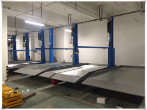Hydraulic Two Post 2 Level Double Car Parking Lift pictures & photos
