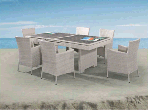 Telescopic Platform Rattan4+1/6+1 Tables and Chair pictures & photos