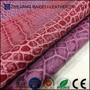 Exported Quality Fake Crocodile PU Microfiber Leather for Sofa Furniture Upholstery pictures & photos