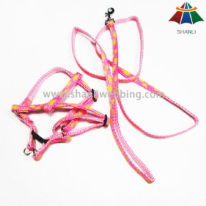 Hot-Sale High-Quality Pink Follower Printed 10mm Polyester/Nylon Leash & Adjustable Harness pictures & photos