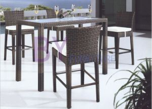 Black Dining Room PE Rattan Furniture with Low Back Chairs pictures & photos