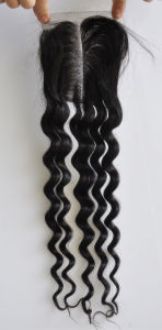 Middle/Free/3-Part Bleached Knots Brazilian Virgin Hair Lace Top Closure Swiss Lace Unprocessed Loose Wave Hair Lbh272 pictures & photos