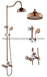New Design Ceramic Double Handle Zf-603-1 Antique Brass Rain Shower Set pictures & photos