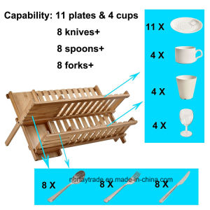 Folding Bamboo 2-Tier Dish Rack Holding Utensil Drainer pictures & photos