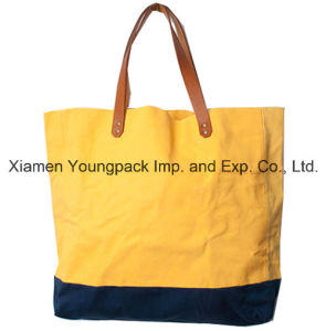Fashion Customized Women′s Recycled Leather Handle Canvas Tote Bag pictures & photos