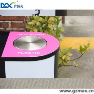 School Wholesale Indoor 3 Compartment Stainless Steel Recycling Bin pictures & photos