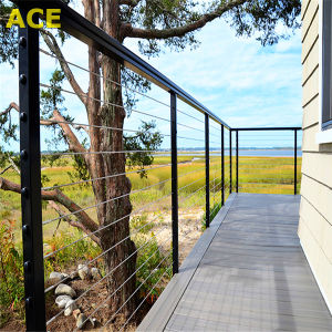 Outside Deck Railing / Stainless Steel Rope Wire Railing with Square Baluster pictures & photos