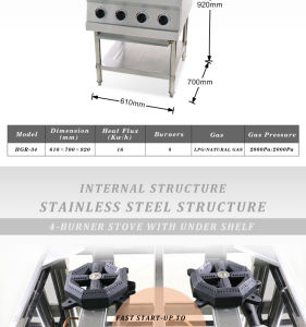 4-Burner Stove with Under Shelf (HGR-34) pictures & photos