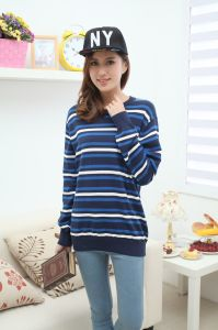 Stock! Three Kinds of Ladies Striped Sweater pictures & photos
