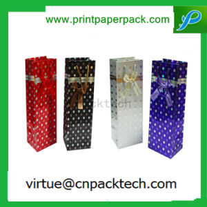 Wholesale Luxury Cardboard Paper Gift Bag with Bow for Single Bottle Wine pictures & photos