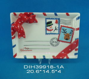 Hand-Painted Ceramic Square Plate with Stamp Design pictures & photos