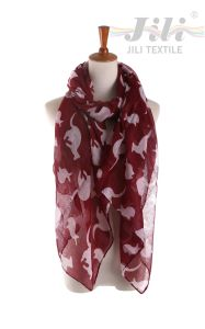 Latest Design New Fashion Voile Animal Kangaroo Printed Scarf for Lady pictures & photos