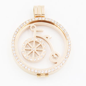 IP Rose Gold Plating Bike Coin with Stones for Locket Pendant Fashion Jewelry pictures & photos