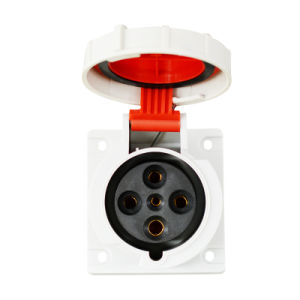 Industrial Socket Flanged 63A, 380-415V/4p/6h/IP67 Flush Mounted Straight pictures & photos