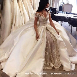 Cap Sleeves Bridal Wedding Gown Champagne Lace Wedding Dress D213249 pictures & photos