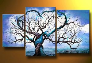 Abstract Acrylic Paintings 3 Panel Old Tree Hand Painted Oil Painting Wall Art for Hotel Decoration