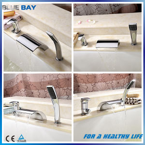 Deck Mounted Waterfall 3 Holes Bath Mixer with Hand Shower pictures & photos