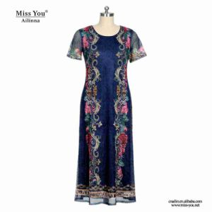 Miss You Ailinna 305196 Ladies Black Floral Mesh Print Floral Dress pictures & photos