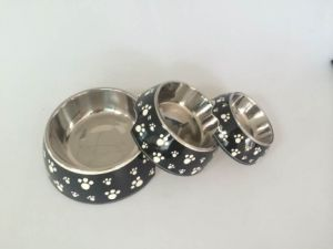 Black Footprint Pattern Melamine&Stainless Steel Pet Dog Food Bowl pictures & photos