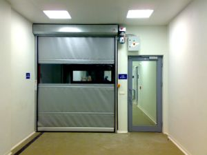 Fabric Fast Industrial Durable PVC Fold up High Speed Auto-Recovery Door pictures & photos