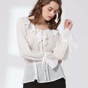 Ladies Fashion Sexy Women Ruffled Collar Jacquard Chiffon Blouse pictures & photos