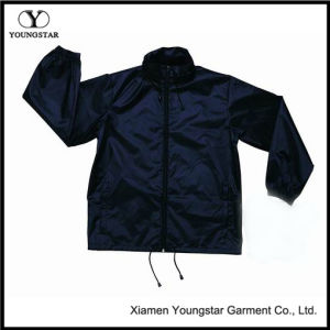 Wholesale Navy Blue Windbreaker Custom Windbreaker Pouch Jacket with Hood pictures & photos
