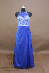 Stunning Round Neck Light Blue Prom Dress Heavily Beading Floor Length Formal Dress