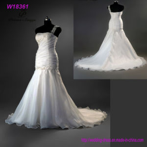 Gorgeous Beaded Mermaid Wedding Dresses Neck Ruffles Bridal Dress Gown pictures & photos