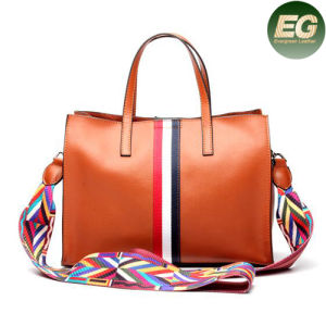 New Arrival Fashionable Women Genuine Leather Tote Bags Colorful Strap Emg4788 pictures & photos