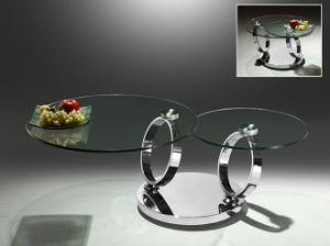 Rotatable Round Stainless Steel Coffee Table with Glass Top pictures & photos