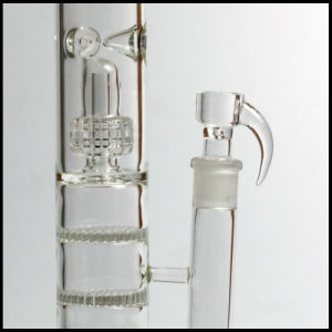 Hfy Glass Water Smoking Pipes Two Function with Double Honeycomb Discs Matrix and a Birdcage Perc Glass Smoking Water Pipe pictures & photos